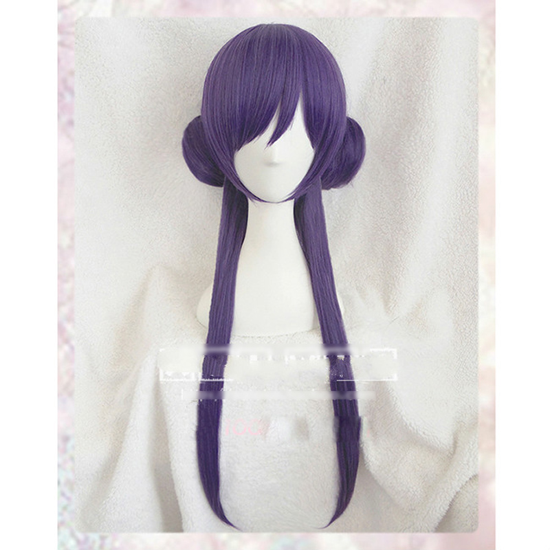 love live! Nozomi Tojo Wakening 18inch Purple Medium Oblique Fringe Synthetic Hair Cosplay Full Wigs+Wig Cap