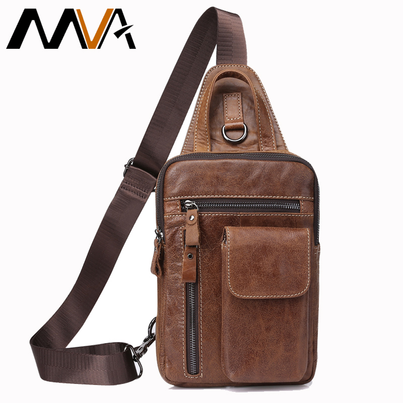 MVA Men's Genuine Leather Messenger Bag Men Shoulder Bags Male Chest Pack Crossbody Bags for Men Chest Bag Sling Leather 8871 стоимость