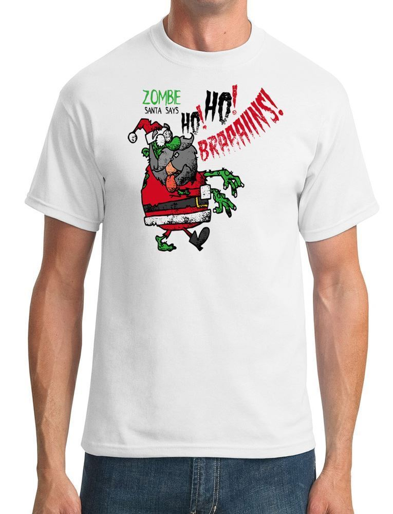 Zombie Santa Says Ho Ho Brains - Funny - Mens T-Shirt mens pride dark t-shirt white black grey red trousers tshirt suit hat tee