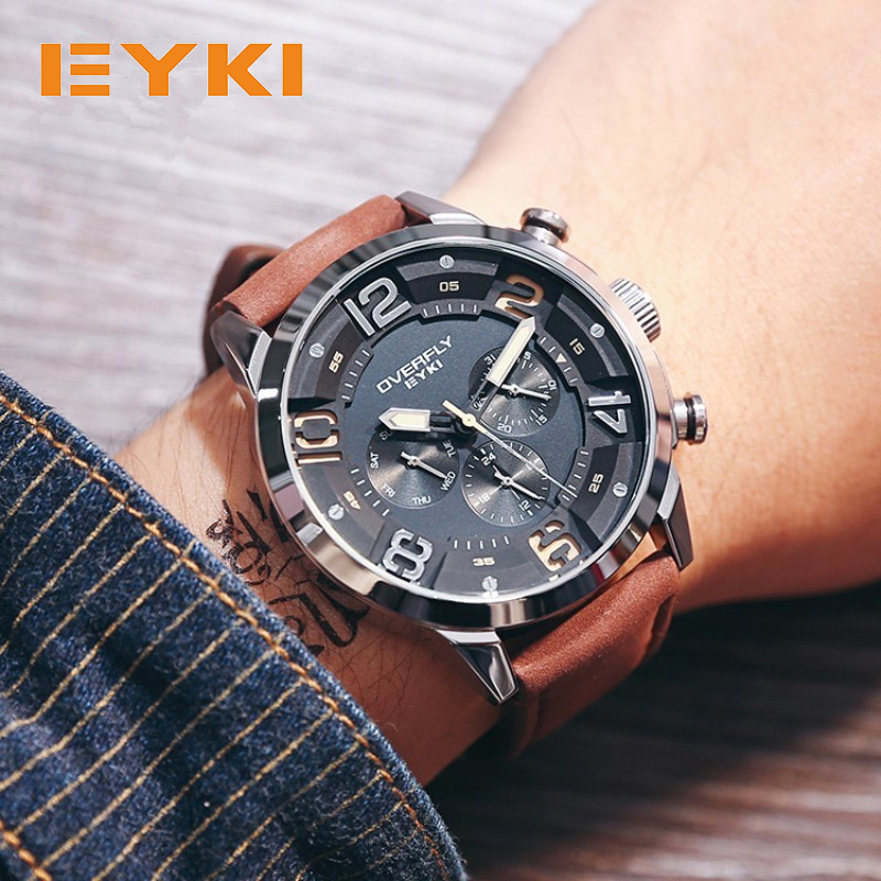 EYKI Fashion Racing Sport Watches For Men Three Eyes Multifunction Stereoscopic Dial Luminous Top Brand Man Watches Quartz-watch
