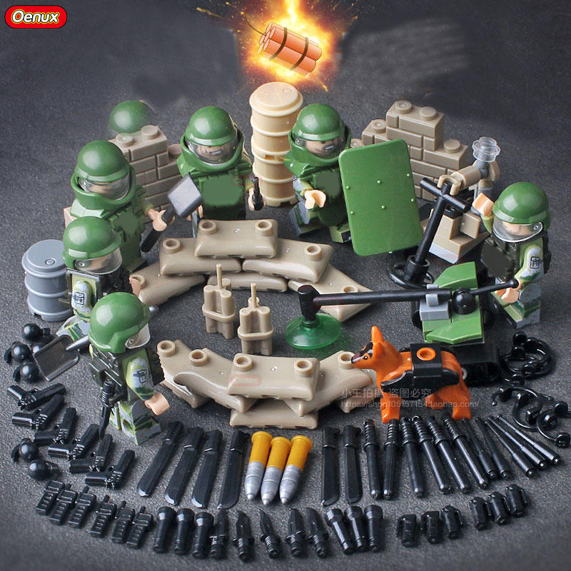Oenux New 6PCS Modern SWAT Bomb Squad Figures Building Block Set Military Armed Forces Brick Educational MOC Toy For Boys Gifts oenux newest swat city policeman mini dolls building block set modern military armed forces soldiers brick toy for kids gift