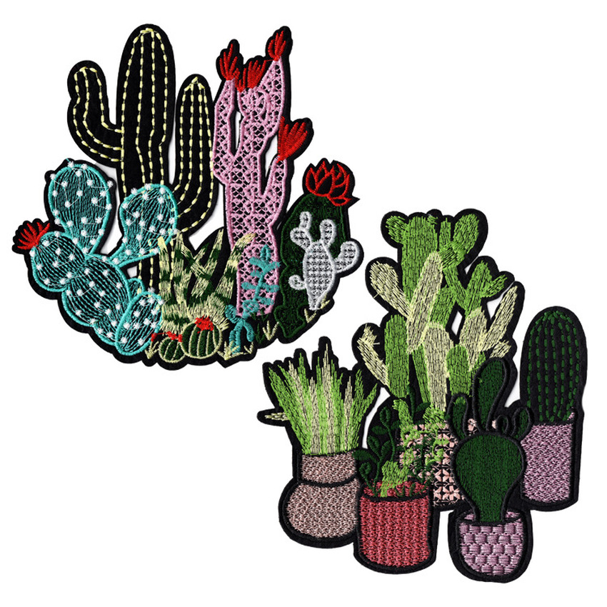 New Floral Cactus Patches for Clothing Iron on Embroidered Sew Applique Cute Patch Fabric Badge Garment DIY Apparel Accessories