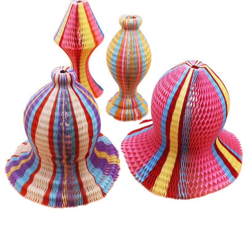Summer Unisex Women Children Magic Honeycomb Paper Vase Hats Contrast Rainbow Colored Travel Folding DIY Sun Cap Party Favors