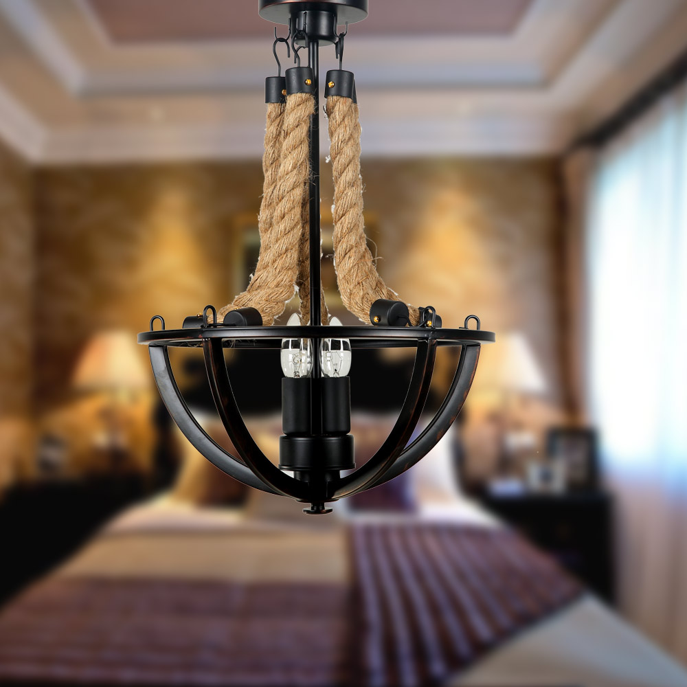 American Country Style Wrought Iron Garden Industrial Hemp Rope Creative Retro Living Room Chandelier Lamp korean princess wrought lamp iron bedroom led lamp american pastoral style living room children chandelier