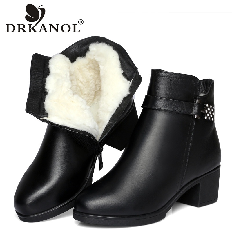 DRKANOL Classic Black Genuine Leather Women Snow Boots Winter Warm Wool Fur Crystal Ankle Boots For Women Thick High Heel Boots salu winter fashion sheep suede boots classic ankle shoes genuine leather wool fur warm square high heel women boots