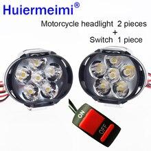Мотоциклетный головной светильник для скутера, противотуманный Точечный светильник светодиодный Мотоцикл ATV 12 В 6500 К, мото рабочий Точечный светильник, фара белая DRL для автомобиля