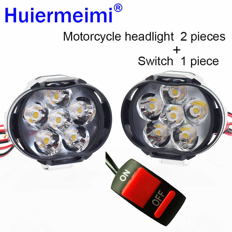 Motorcycle Headlight Scooter Fog Spotlight LED Motorbike ATV 12V 6500K Moto Working Spot Light Head Lamp White DRL Car Headlamp