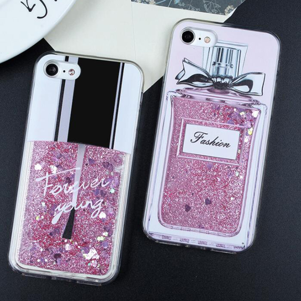 Liquid Glitter Case For iPhone XR Cover For iPhone X XS Max SE 5 5S 7 8 6  6s Plus Case Cat Perfume Bottle Quicksand Dynamic Case 7d90dde22dd9