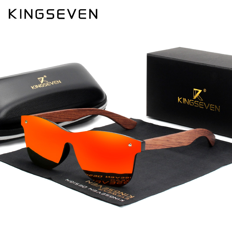 Image 4 - KINGSEVEN Bubinga Wooden Men's Sunglasses Women Polarized Retro Rimless Green Mirror Lens Sun Glasses Handmade Driving Eyewear-in Men's Sunglasses from Apparel Accessories on AliExpress
