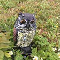 Plastic Simulation Owl Garden Decoration Blowing,16*15*36CM Fake Animals Environmentally Driven Mouse Shaking Owl