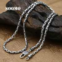 SOQMO Women Men Necklace 100% Real 925 Sterling Silver 3mm Thick Buddhist Heart Sutra Bamboo chain Pendant Necklace jewelry