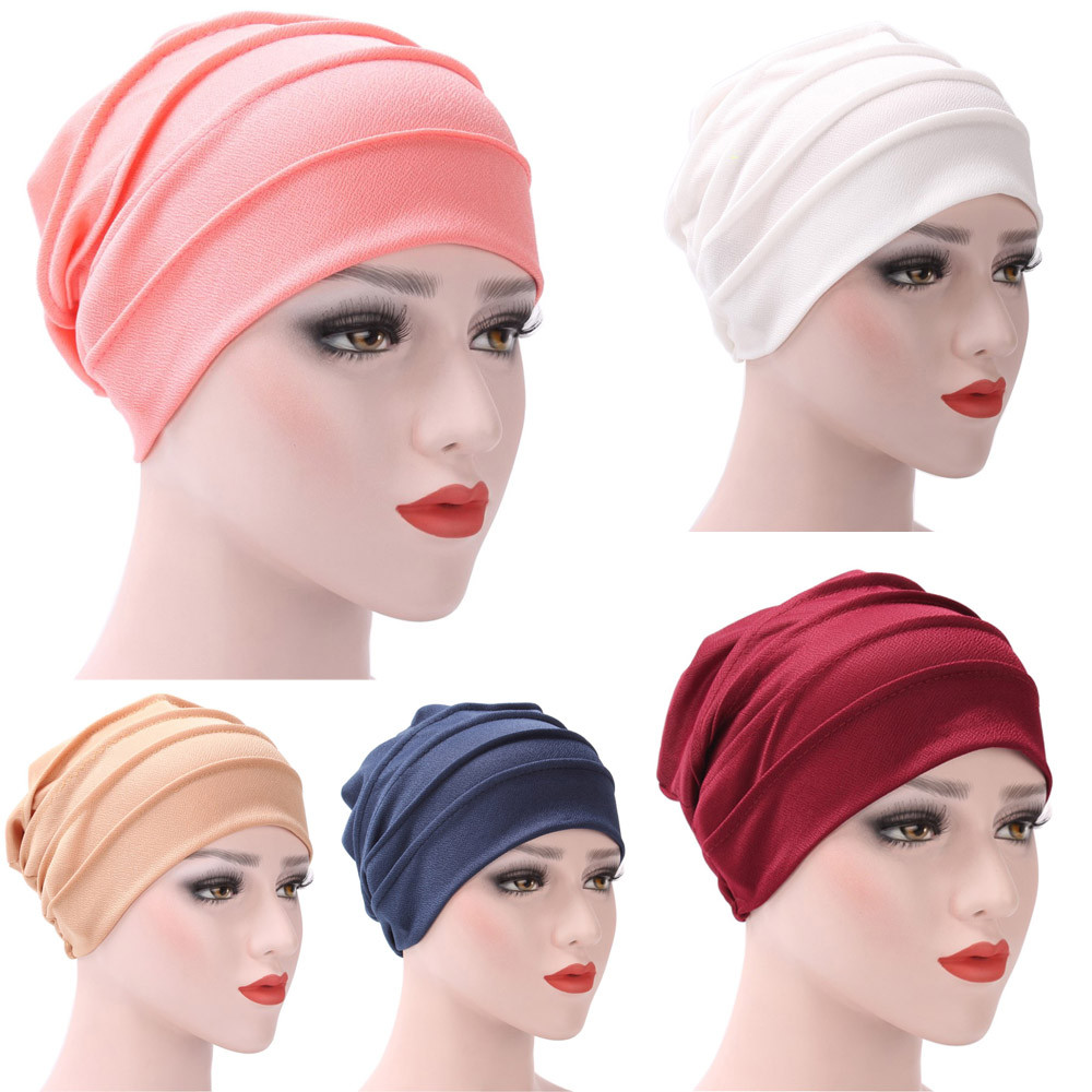 Women India Hat Muslim Ruffle Cancer Chemo Hat Beanie Scarf Turban Head Wrap wintre female Cap Casual Skullies & Beanies