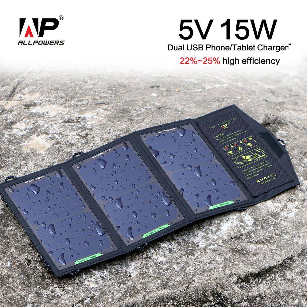 Prix pour ALLPOWERS 5 V 15 W Portable Pliable Panneau Solaire Chargeur Solaire Téléphone/Tablet/Batterie Chargeur pour Iphone Sumsung HTC BlackBerry IPAD