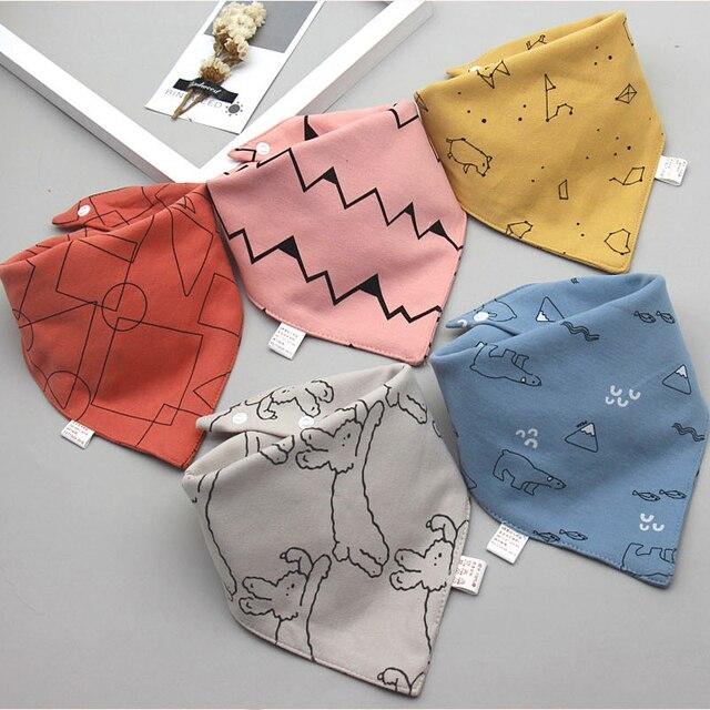 Baby Bibs Triangle Double Cotton Bibs 5 pieces/lot Cartoon Print Saliva Towel Baby Boys Girls Feeding Apron Cotton Bandana Bibs 5