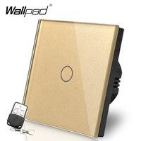HOT Wallpad Luxury Gold Touch Crystal Glass Broadlink 1 Gang 2 Way Remote Control European UK Version Wireless Light Lamp Switch