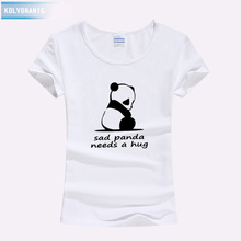 Shirts Women 2019 Summer New Street Style Kawaii T-Shirts Sad Panda Needs A Hug Letter Funny Printed Short Sleeve Ladies T Shirt