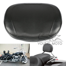 Motorcycle Leather Passenger Seat Backrest Pillion Cushion Pad Black Universal for Harley Chopper Cruiser Bobber Custom Glide