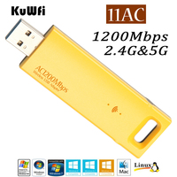 KuWfi 802 11ac 1200Mbps Wireless USB Adapter 2 4G 5G Dual Band External USB Antenna Wireless