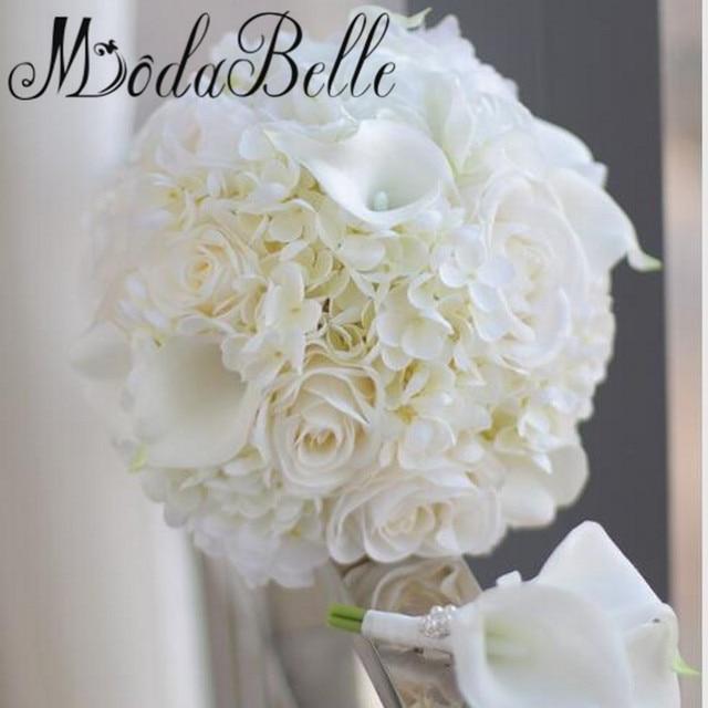 Handmade Silk Rose Wedding Bouquet Hydrangea Calla Lily Bride