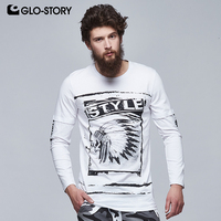 GLO STORY 2018 Long Sleeve Punk Fashion Skull T Shirt Men Sleeve with Letter Tape Hip Hop Camisa Tops MCX 6107
