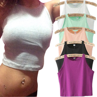 6 Colors 2015 New Women Tight Crop Top Skinny O Neck T Shirt Belly Sports Dance