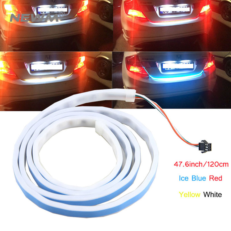120cm 150cm 4 color LED Dynamic Streamer Turn Signal Tail Box Trunk Lights Luggage Compartment Tailgate LED Warning Light Strips blue red white yellow led strip tail streamer brake turn signal warning lighting car styling dynamic streamer drl tail lights