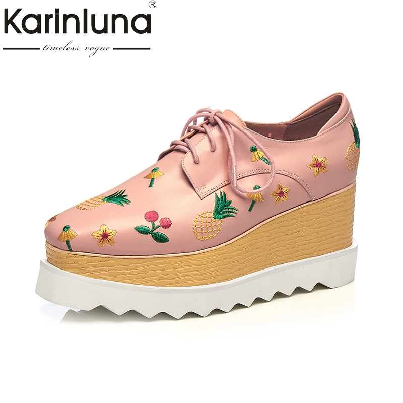 KarinLuna Genuine Leather 2018 Large Size 33-42 Black Pink Wedge High Heel Lace Up Platform Women Pumps Party Shoes Woman pink palms women summer genuine leather lace up shoes super high heel wedge black peep toe runway party sandals
