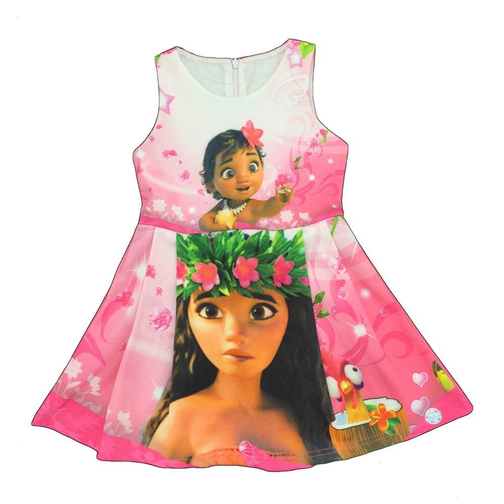R490 5 De Desconto2017 Vaiana Crianças Meninas Vestidos De Roupas Impressão Moana Adolescentes Vestido De Verão Sem Mangas Trajes De Carnaval De