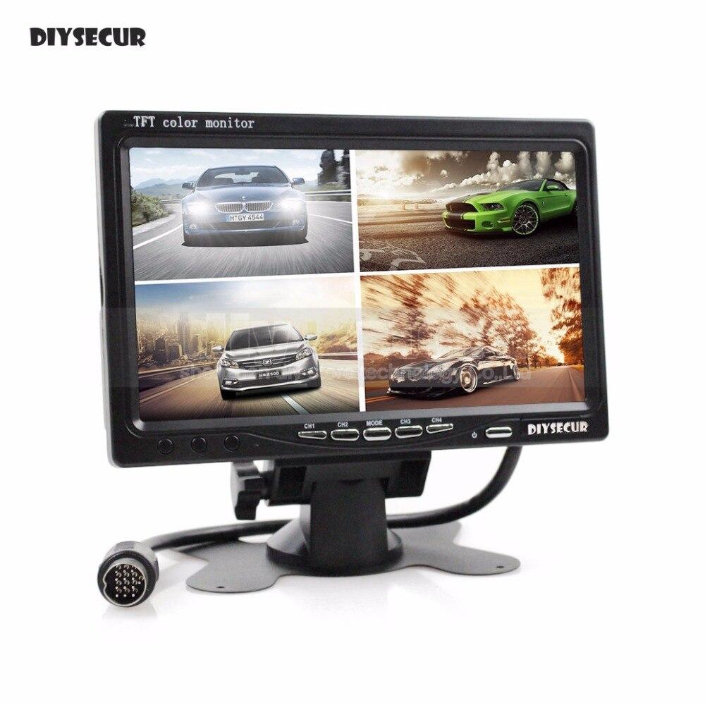 все цены на DIYSECUR DC12V-24V 7 Inch 4 Split Quad LCD Screen Display Color Rear View Car Monitor for Car Truck Bus Reversing Camera
