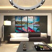 FOUR PC NO FRAME Boat Wallnut Shell Oil Painting Printed Oil Painting On Canvas Oil Painting
