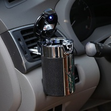 Car Portable LED Light ashtray Universal Cigarette Cylinder Holder Carbon Fiber Air outlet clip Storage Box accessories