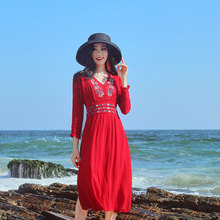 2019 new bohemian dress Thai tide brand national wind female holiday red for women