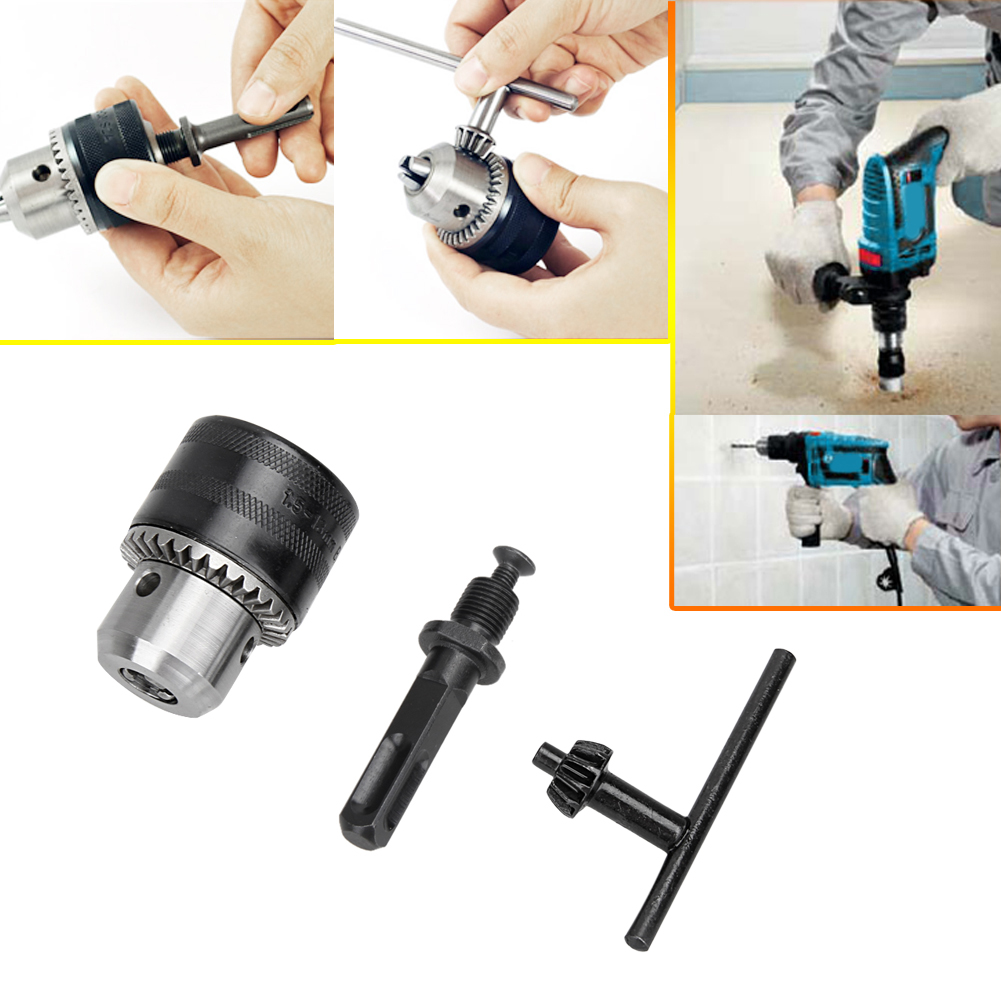1.5-13mm Drill Chuck+Keyed+Handle Adaptor For Electric Drill Power Tool Accessories Plain Bearing Conversion mini electric drill chuck 10mm power tool accessories with 6 35mm hexagonal connection handle conversion motor shaft connecting
