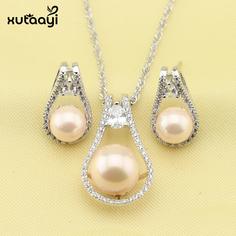 Imitation Pearl Jewelry Sets, Attractive White Crystal Sterling Silver Overlay Earrings and Necklace For Women Free Gift Box attractive rhinestone embellished necklace and a pair of earrings for women
