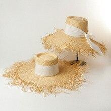 Elegant Raffia Floppy Hats for Women Black White Ribbon Bow Sun Visor Fringed Big Brim Beach UV Protection Summer Hat