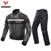 DUHAN Windproof Motorcycle Racing Kits Protective Armor Jacket Pants Hip Protector Motor Jacket Pants Suits Sets