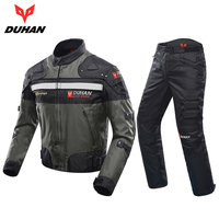 DUHAN Windproof Motorcycle Racing Kits Protective Armor Jacket Pants Hip Protector Motor Jacket Pants Suits Sets