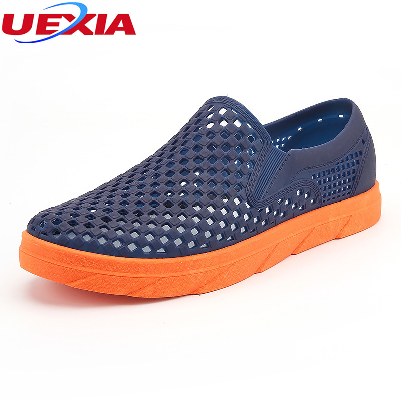 UEXIA New Men Sandals Slippers Hollow Male Summer Shoes Outdoor Walking Beach Slippers Fashion Sandalias Soft Bottom Breathable