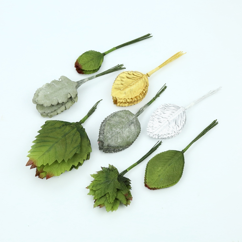 12pcs Artificial Plants For Wedding Home Decor Accessories Decorative Flowers Wreaths Fake Leaves Diy Gifts Cheap Silk Gold Leaf