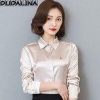 DUDALINA 2018 New Women Blouse Shirt Embroidery Female Blouses Silk Shirts Casual Spring Summer Tops Women