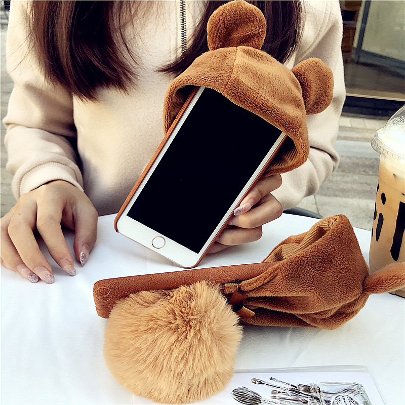 Aoweziic Winter creativity plush bear hat for iphone X XS MAX XR phone case 6s hair ball set 8plus cute personality bracket soft in Fitted Cases from Cellphones Telecommunications