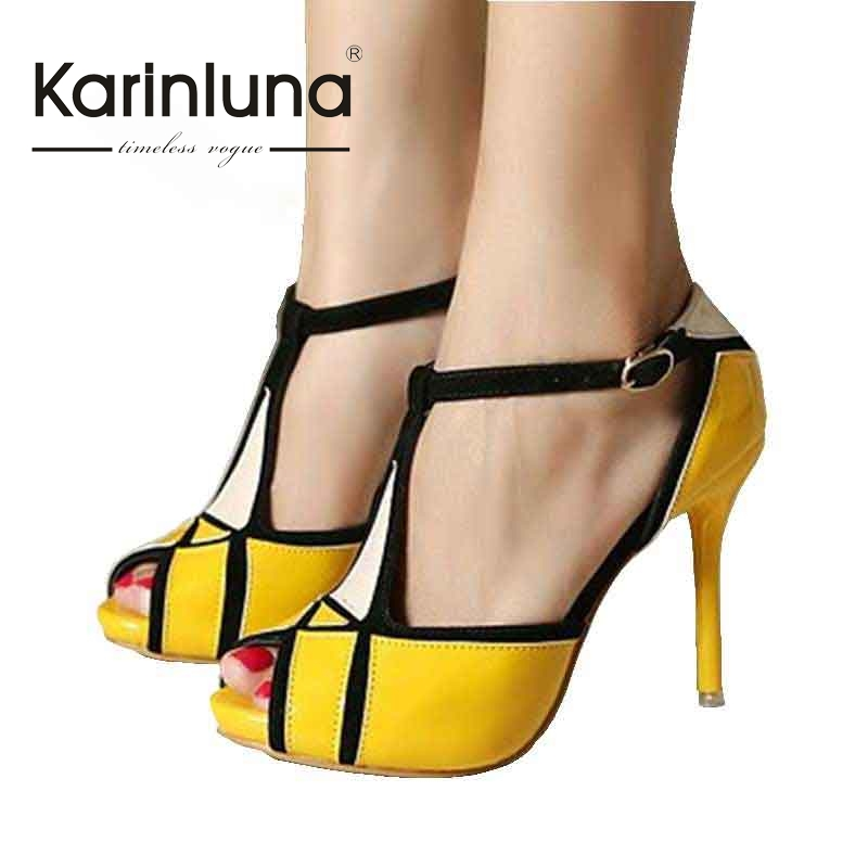 ФОТО brand design new big size 34-43 mixed colors women shoes woman sandals thin high heels peep toe for party