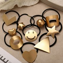 Europe And America New Hair Clip Creative Cute Children Girl Band Elastic Metal Hairpin Geometric Ring Wohelsale