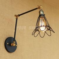 iron RH long arm glass industry style Creative restaurant hotel corridor adjustable wall lamp