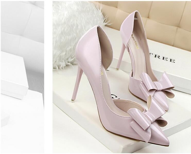 {D&H}Brand Women Shoes High Heels Women's Pumps Bow Two Piece Thin Heel Wedding Shoes Valentine Shoes White zapatos mujer 15