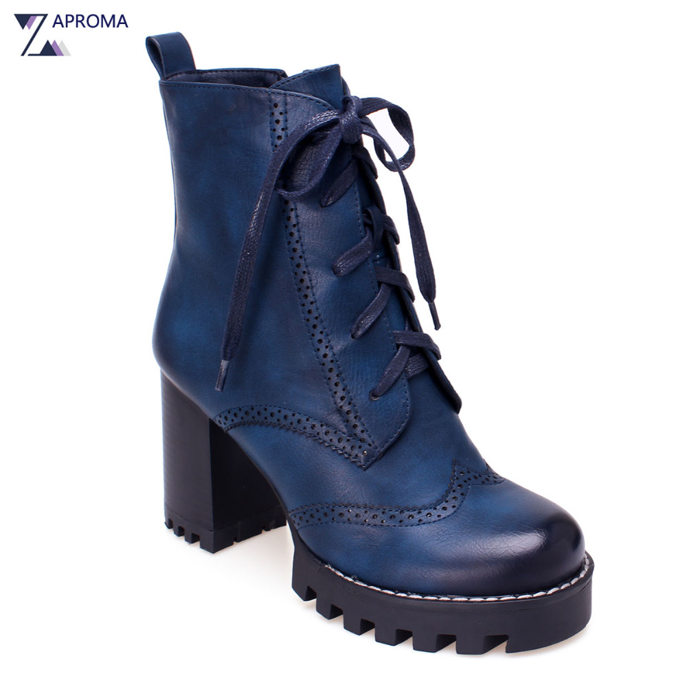 Women Brogue Pattern Ankle Boots Platform Chunky Heel Ladies Fleeces 2018 Round Toe Super High Heel Spring Winter Wide Shoes basic 2018 women thick heel ankle boots black pu fleeces round toe work shoe red heel winter spring lady super high heel boots