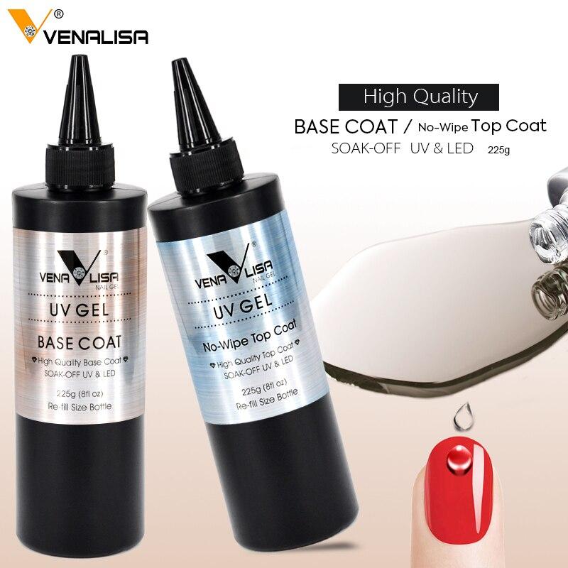 2018 Nouvelle Arrivée VENALISA Nail Gel 225g Pas Essuyer Top Coat Gel Vernis Base Manteau Soak Off UV LED nail Salon Utilisé Base Nail Gel