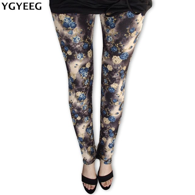 YGYEEG Hot 2019 druku kwiat legginsy z wysokim stanem nowe legginsy duży żółty kwiat orchidei cienkie spodnie moda kobiety Aptitud spodnie
