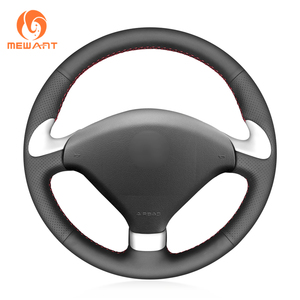 MEWANT Black Artificial Leather Hand Sew Wrap Anti Slip Car Steering Wheel Cover for Peugeot 307 CC  2004 2005 2006 2007 Steering Covers     -