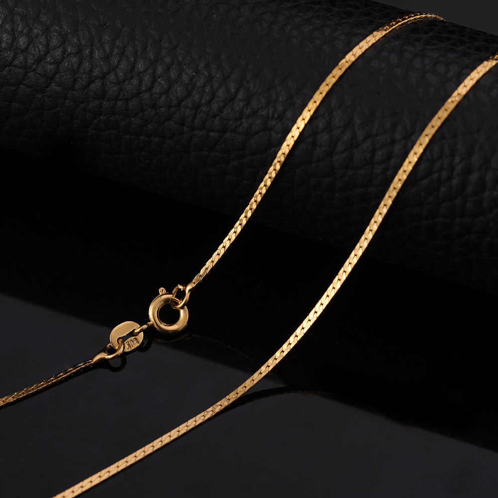 St Kunkka 2018 New Fashion Rope Gold Chains Necklace For Pendant Women Chokers Collar Flat Chain 24k Yellow Gold Filled Jewelry Aliexpress